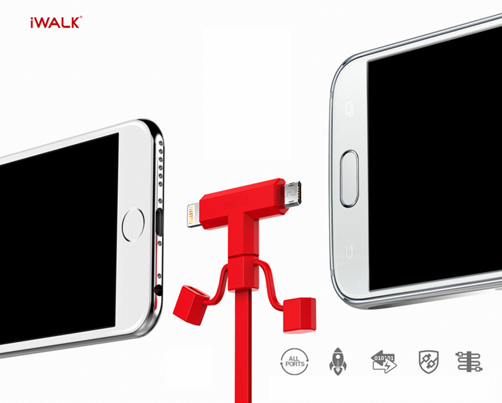 iWALK 2 in 1 Lightning and Micro USB cable